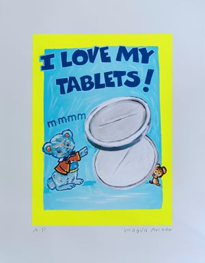 I Love My Tablets by Magda Archer contemporary artwork