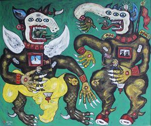 Konspirasi Penjual Negara Adidaya (Trade Conspiracy of Superpower Countries) by Heri Dono contemporary artwork