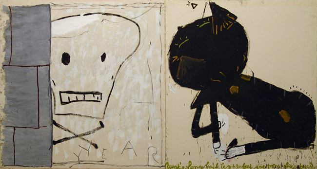 Cat & Skull by Rose Wylie contemporary artwork