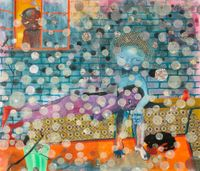 It's raining balls this is bliss by Ndidi Emefiele contemporary artwork painting, works on paper, drawing, textile