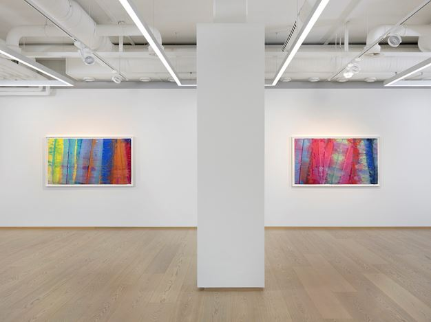 Exhibition view: Sam Gilliam, Watercolors,Pace Gallery, Geneva (21 January–19 March 2021). © Sam Gilliam / 2020 Artists Rights Society. Courtesy Pace Gallery.