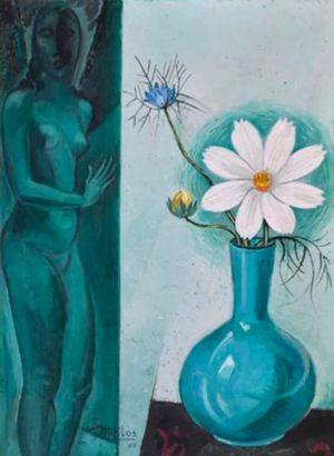 Madame Miklos et vase de fleurs by Gustave Miklos contemporary artwork