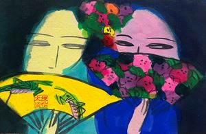 Two Girls Gossiping by Walasse Ting contemporary artwork