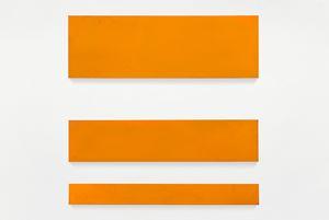 no title (cadmium orange, three rectangles) by Paul Mogensen contemporary artwork