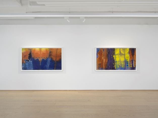 Exhibition view: Sam Gilliam, Watercolors, Pace Gallery, Geneva (21 January–19 March 2021). © Sam Gilliam / 2020 Artists Rights Society. Courtesy Pace Gallery.