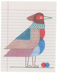 196 - Rouge-poitrine familier by Jochen Gerner contemporary artwork works on paper, drawing