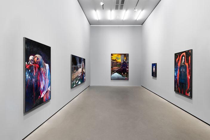 Exhibition view: Martin Eder, Dystopia,Galerie EIGEN + ART Berlin (26 April–1 June 2019). Galerie EIGEN + ART Berlin. Photo: Uwe Walter.