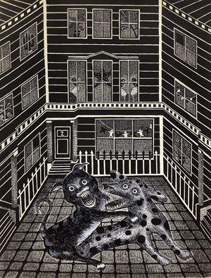 他打開窗戶看到櫻草花山 A Man Opened His Window And Stared Up Primrosehill by Ting-Tong Chang contemporary artwork