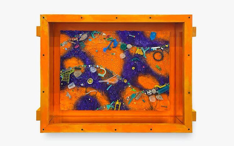 Ashley Bickerton, Small Flotsam Painting (Orange/Purple)(2020). Acrylic and found beach flotsam on canvas board with artist made plywood construction. 59.7 x 78.7 x 14 cm. Courtesy Gajah Gallery.
