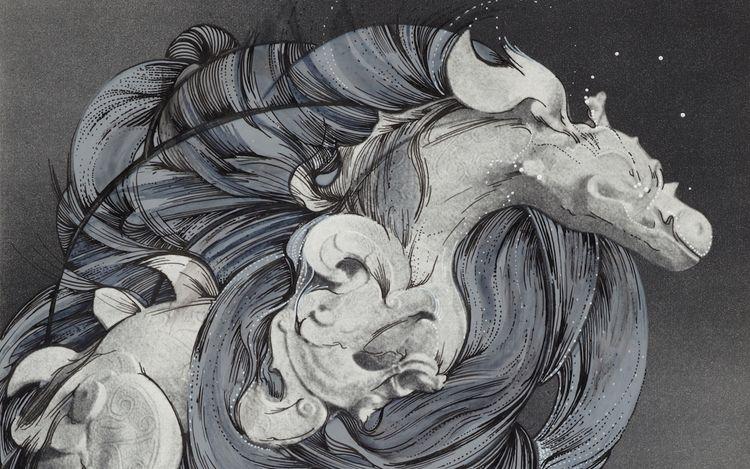 Ann-Marie, JAMES MUSÉE IMAGINAIRE,Plate 282(2013) (detail). Ink on bookplate. 22.3 x 17.7 cm. Copyright the artist. Courtesy Richard Saltoun Gallery.