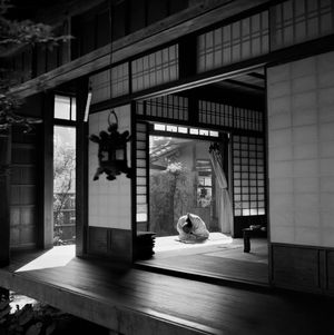 A priest rests in the Temple of Ryoanji, Tokyo, Japan by Werner Bischof contemporary artwork