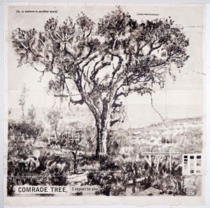 Drawing from Waiting for the Sibyl (Comrade Tree, I report to you) by William Kentridge contemporary artwork