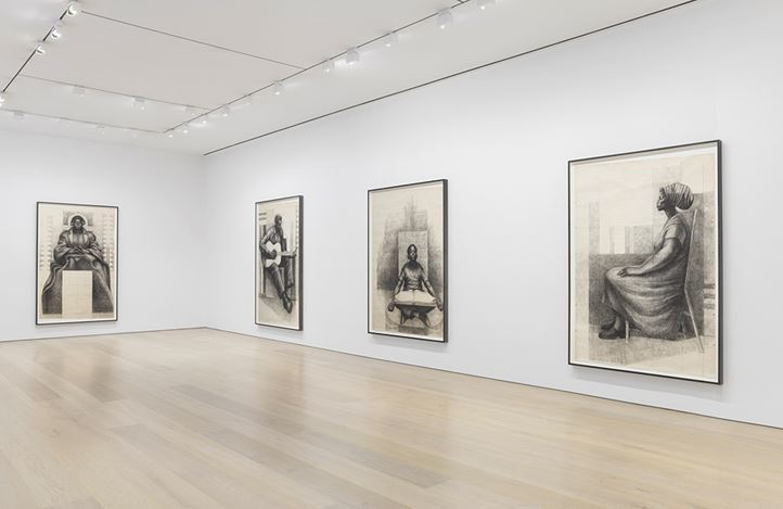 Exhibition view: Charles White, Monumental Practice, David Zwirner, 20th Street, New York (8 January–16 February 2019). Courtesy David Zwirner.
