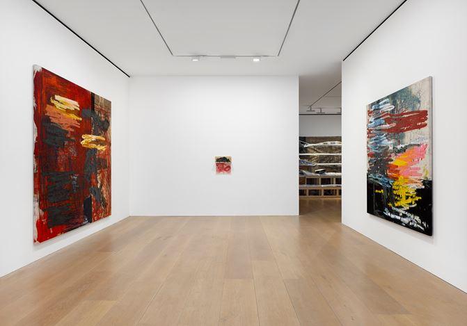 Exhibition view: Oscar Murillo,Manifestation, David Zwirner, London (8 June–26 July 2019).© Oscar Murillo.Courtesy the artist and David Zwirner.
