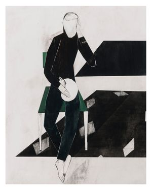 White cat/ green chair by Iris Schomaker contemporary artwork