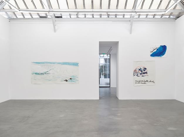 Exhibition view: Raymond Pettibon, Frenchette, David Zwirner, Paris (16 October–23 November 2019). © Raymond Pettibon. Courtesy the artist and David Zwirner. Photo: Jack Hems.