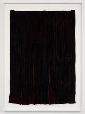 Burned piece (Dark red velvet from Spain) by Edith Dekyndt contemporary artwork