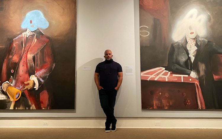Marcus Jansen at his exhibition in The Cornell Fine Arts Museum (2020). Courtesy Gagosian. Photo: Sabrina Gruber.