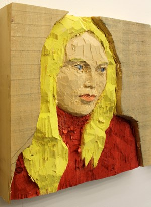 Woman with blond hair by Stephan Balkenhol contemporary artwork