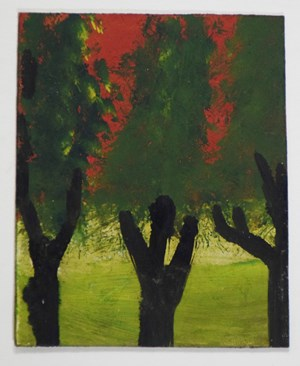 Landscape Series: Three Trees with Red Sky by Frank Walter contemporary artwork