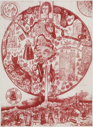 Map of Nowhere (red) by Grayson Perry contemporary artwork
