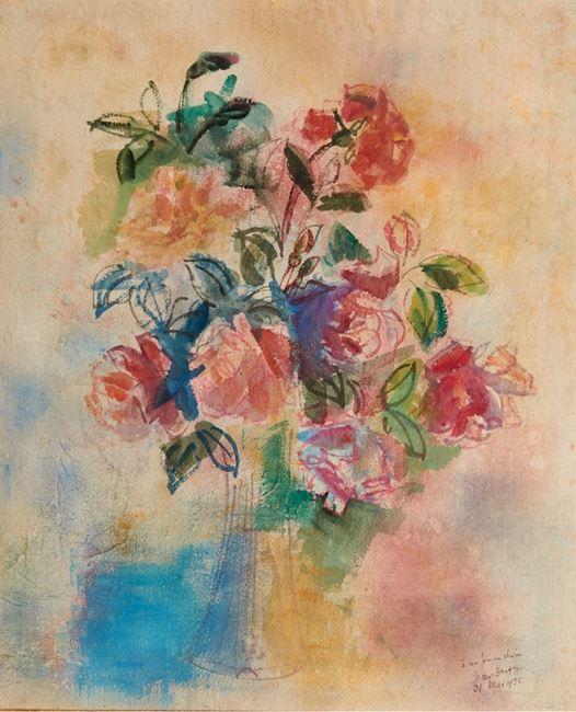 Bouquet de rose dans un vase by JEAN DUFY contemporary artwork