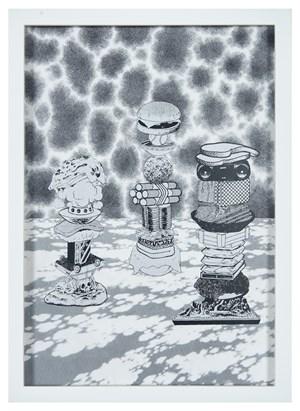Hard Boiled Daydream ( Collage Roman ) #5 飛濺與薄片(人骨架/2017)#5 by Teppei Kaneuji contemporary artwork