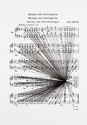 Mass Black Implosion (Mikrokosmos: Melody with Interruptions, Bela Bartok) by Marco Fusinato contemporary artwork