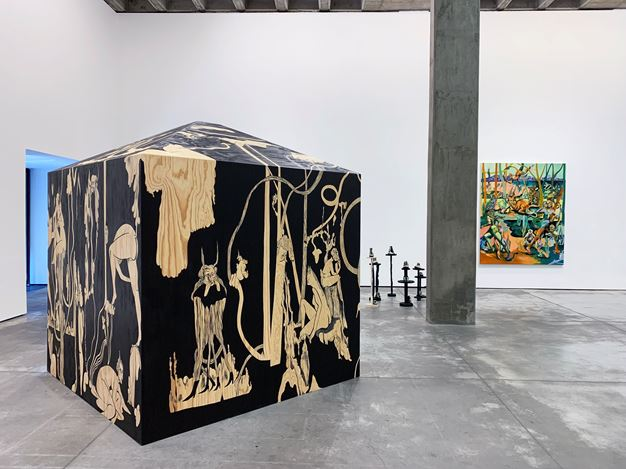Exhibition view: Jessie Makinson, Tender Trick, Galería OMR, Mexico City (20 June–17 August 2019). Courtesy the Artist and Galeria OMR, Mexico City. Photo: © Jacob Flood.