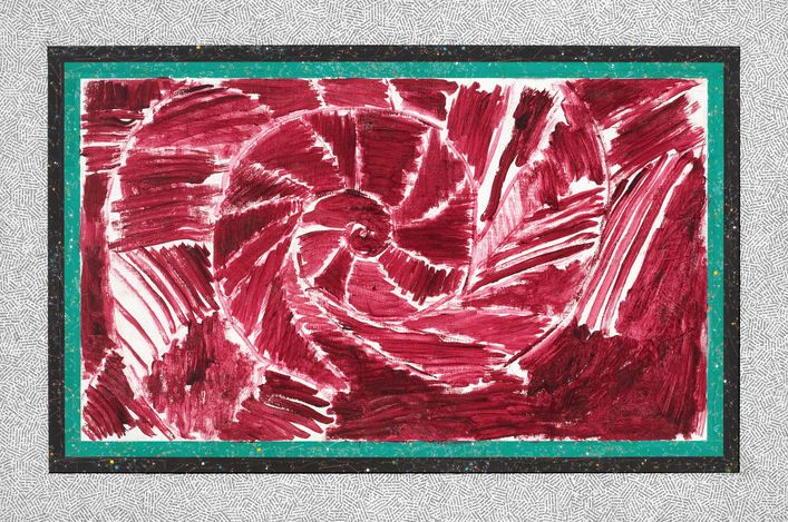 Pierre Alechinsky et Jiri Kolar Un calendrier réanimé - Mars (1985–2013). Acrylic and collage on wood. 80 x 120cm. © Pierre Alechinsky and the Estate of Jiri Kolar. Courtesy Galerie Lelong & Co.