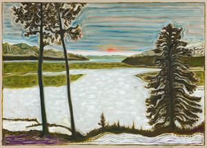 midnight sun / frozen lake by Billy Childish contemporary artwork