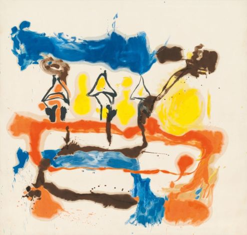 Helen Frankenthaler,Fable (1961).Oil and charcoal on unsized, unprimed canvas. 240 × 251.5 cm.© 2021 Helen Frankenthaler Foundation, Inc./Artists Rights Society (ARS), New York. Courtesy Gagosian.