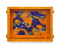 Small Flotsam Painting (Orange/Purple) by Ashley Bickerton contemporary artwork painting, works on paper, sculpture