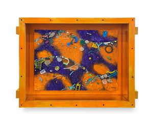 Small Flotsam Painting (Orange/Purple) by Ashley Bickerton contemporary artwork