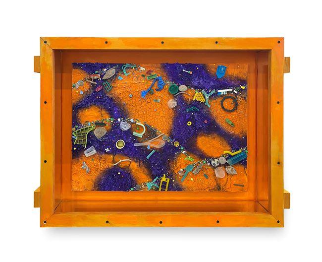 Small Flotsam Painting (Orange/Purple) by Ashley Bickerton contemporary artwork