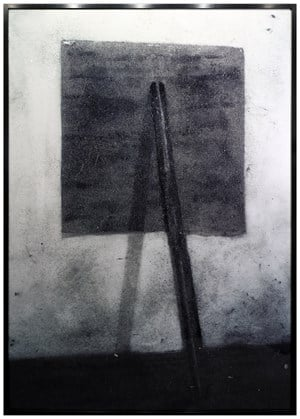 """After Richard Serra, Prop, 1968, Installed at the Whitney Museum in """"Contemporary American Sculpture: Selection 2,"""" April 4 - May 5, 1969 (Pictures of Dust) by Vik Muniz contemporary artwork"""