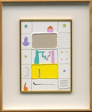 White and Yellow in the Bulges by Sadamasa Motonaga contemporary artwork