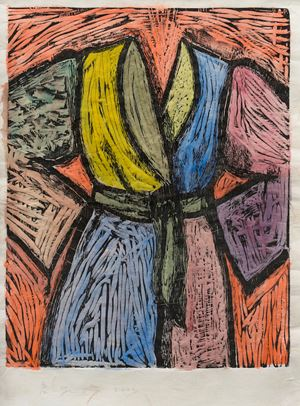 Woodcut in Paris and Tokyo by Jim Dine contemporary artwork print