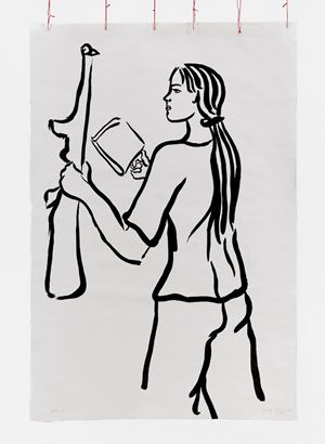 Girl with Book and Gun by Cecilia Vicuña contemporary artwork