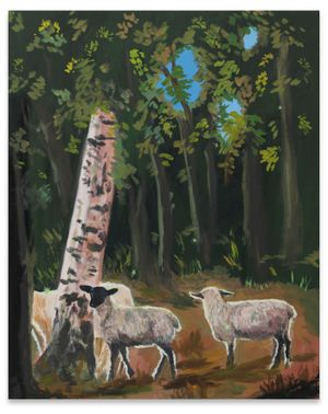 the fairie Queens Sheep in the woods by Karen Kilimnik contemporary artwork
