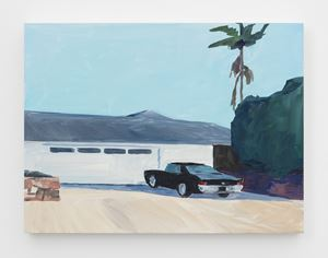 Black car in front of garage by Jean-Philippe Delhomme contemporary artwork