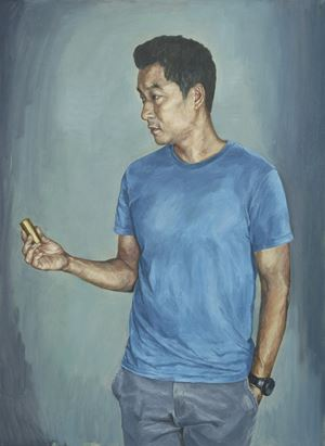 WW Wearing a Light Blue T-shirts by Dongwook Suh contemporary artwork