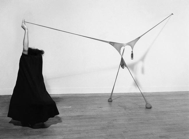 Studio performance with 'R.S.V.P' by Senga Nengudi contemporary artwork
