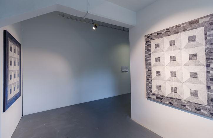 Saiful Razman, Detail of Tapak (2019). Medical gauze, tissue paper, polyvinyl adhesive, acrylic, polyacrylic on canvas. 152 x 152 cm. Courtesy the artist and Chan + Hori Contemporary, Singapore.