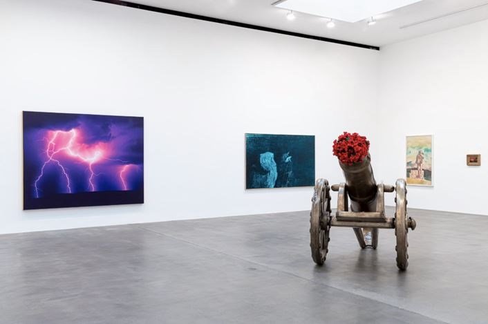 Exhibition view: Group Exhibition, American Pastoral, Gagosian, Britannia Street, London (23 January–14 March 2020). Artwork, left to right: © Estate of Jack Goldstein, © Mark Tansey, © Jeff Koons, © Richard Prince, © Thomas Moran. Courtesy Gagosian. Photo: Lucy Dawkins.
