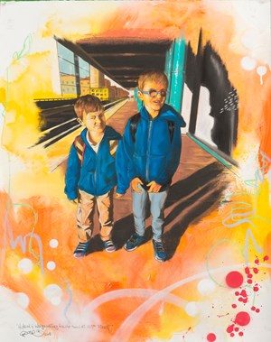 Hudson and Indigo Waiting for the Train at 125th Street by Chris Daze Ellis contemporary artwork