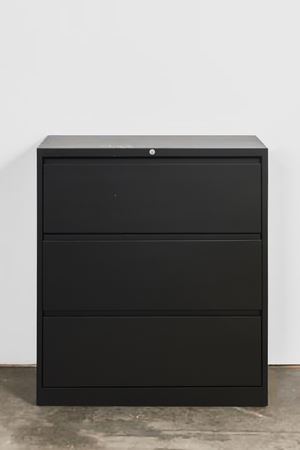 Lateral File Cabinet (back, cup rings, drips) by Kaz Oshiro contemporary artwork