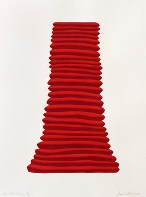 Red rib Column by David Nash contemporary artwork