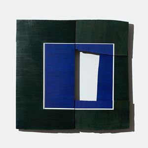 Blue Square with White Stripe by Young-Rim Lee contemporary artwork