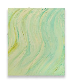 Untitled (Mixed white / Brilliant yellow deep / Caribbean blue) by Jason Martin contemporary artwork